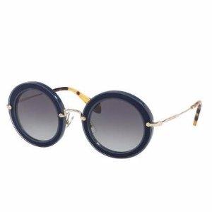 Miu Miu Noir Round Gradient Silk Satin Sunglasses, Blue