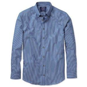 Extra slim fit non-iron poplin blue and white stripe shirt | Charles Tyrwhitt