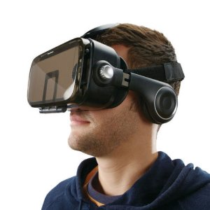 VR Headset with Built-In Headphones
