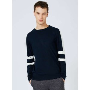 Navy and White Sleeve Stripe Sweater - View All Clearance - Clearance - TOPMAN USA