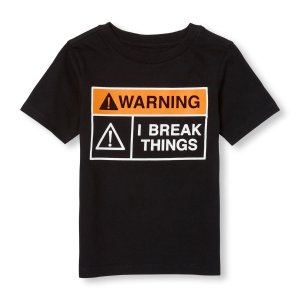Toddler Boys Short Sleeve 'Warning I Break Things' Sign Graphic Tee | The Children's Place