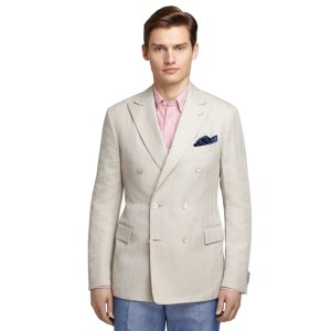 Men's Cream Herringbone Sport Coat