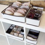 Domestic Corner - Drawer Dividers Closet Organizers - Storage Boxes - Set of 4 - Beige