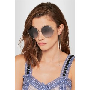 Chloé   Carlina round-frame silver-tone sunglasses