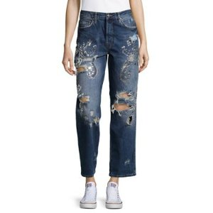 Distressed Cotton Jeans