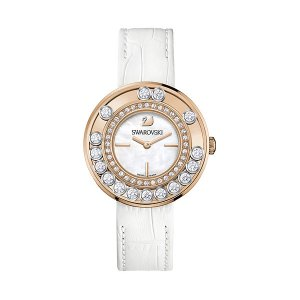 Lovely Crystals White Rose Gold Tone Watch