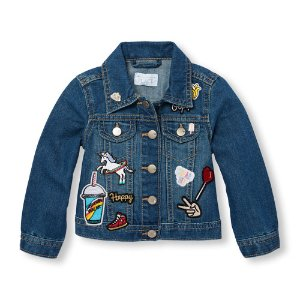 Toddler Girls Long Sleeve Patch Denim Jacket | The Children's Place
