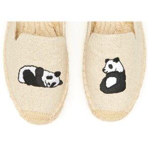 Soludos Jason Polan Panda Embroidered Platform Smoking Slipper in Sand Panda - Soludos Espadrilles