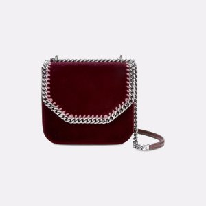 Velvet Burgundy Falabella Box Medium Shoulder Bag - Stella Mccartney