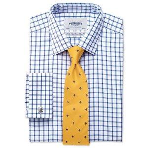 Slim fit non-iron twill grid check royal blue shirt | Charles Tyrwhitt