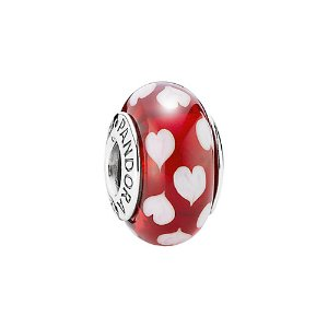 PANDORA Silver Murano Glass Red Sweet Hearts Charm
