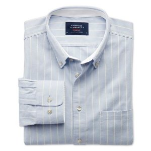 Classic fit sky blue stripe washed Oxford shirt | Charles Tyrwhitt