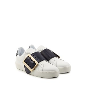 Leather Sneakers with Buckle Detail - Burberry