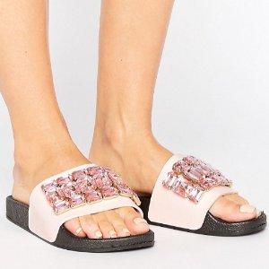 As Low As $18Truffle Jewel Slide Flat Sandal @ ASOS