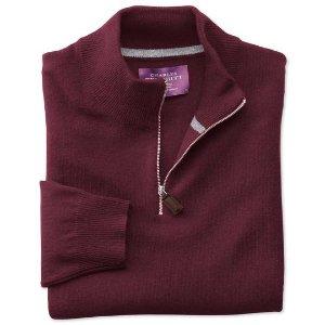 Wine cashmere zip neck sweater