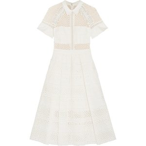 Broderie anglaise cotton midi dress