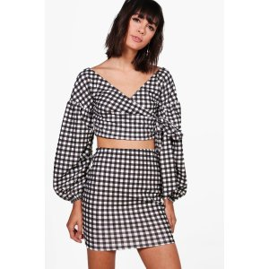 Tina Gingham Wrap Crop & Skirt Co-ord