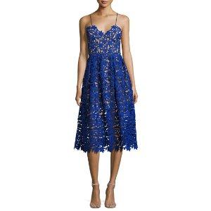 Azaelea Guipure-Lace Illusion Cocktail Dress, Cobalt