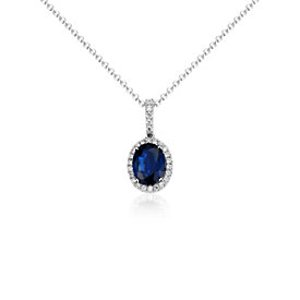 Sapphire and Diamond Halo Drop Pendant in 14k White Gold (7x5mm) | Blue Nile