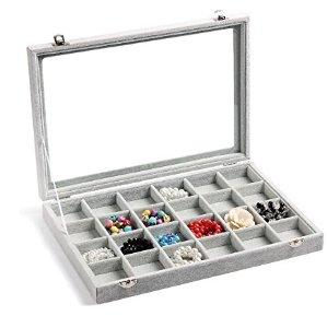 $22.99Valdler Clear Lid 24 Grid Jewelry Tray Showcase Display Storage