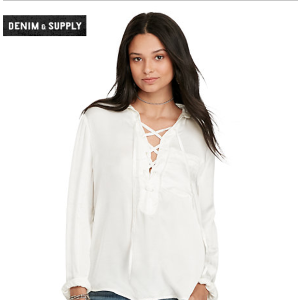 Satin Lace-Up Top Sale Shirts & Tops