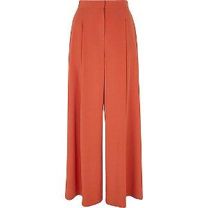 Rust orange wide leg pants - wide leg pants - pants - women