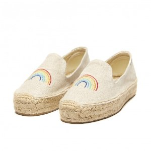 Soludos ASHKAHN X Rainbow Embroidered Platform Smoking Slipper in Sand