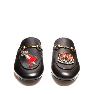Princetown embellished leather backless loafers | Gucci