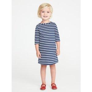 Striped Boat-Neck Shift Dress for Toddler Girls