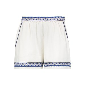 Embroidered cotton-canvas shorts