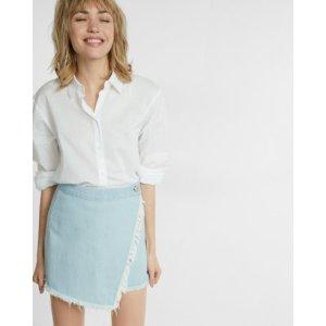 Frayed Wrap Front Mini Skirt   Express
