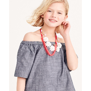 Girls' short-sleeved chambray ruched top : shirts | J.Crew Factory