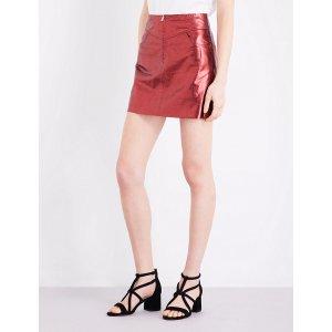 SANDRO - Metallic leather skirt   Selfridges.com