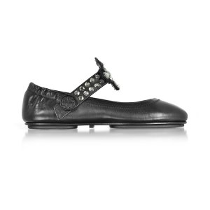 Tory Burch Minnie Two Way Black/Clear Nappa Leather Ballet Flats