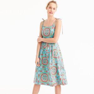 Drake's® for J.Crew tie-shoulder dress in tiled elephant print