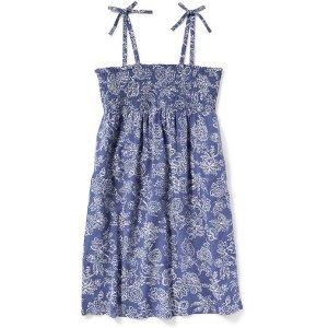 Smocked Tie-Strap Swing Dress for Girls