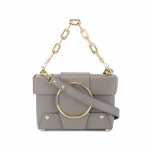 YuzefiMini Grey Leather Asher box bag