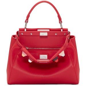 Fendi: Red Studded Mini Peekaboo 手袋