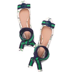 Up to 30% Off Maritime Ankle-wrap Ballet Flat @ Tory Burch