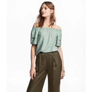 Off-the-shoulder Blouse | Mint green | Women | H&M US
