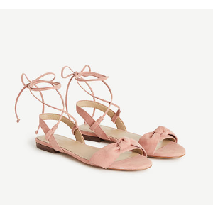 Galen Lace Up Bow Flat Sandals | Ann Taylor