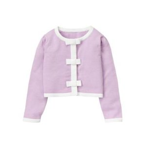 Baby Girl Lilac Cropped Bow Cardigan at JanieandJack