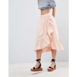 ASOS Wrap Midi Skirt in Cotton with Ruffle Hem