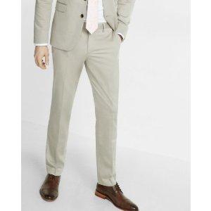 Skinny Innovator Stone Cotton Sateen Suit Pant   Express