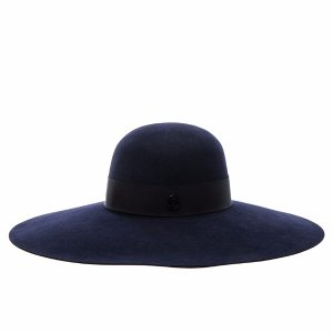 Maison Michel Blanche Hat in Navy | FWRD