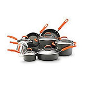 Rachael Ray® 14-pc. Hard-Anodized Cookware Set with Orange Handles | Bon-Ton