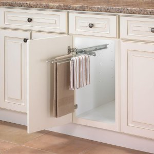 Real Solutions for Real Life 1 in. H x 5 in. W 18 in. D Pull Out 3-Arm Pull-Out Towel Bar Cabinet Organizer in Silver-P-793-R-ANO - The Home Depot