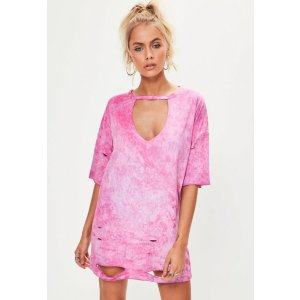 Petite Pink Oversized Tshirt Dress | Missguided