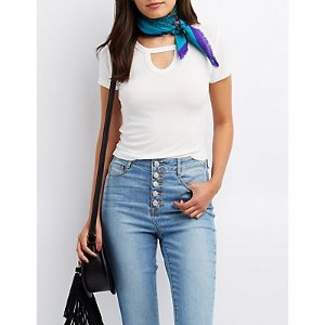 Ribbed Keyhole Skimmer Top | Charlotte Russe