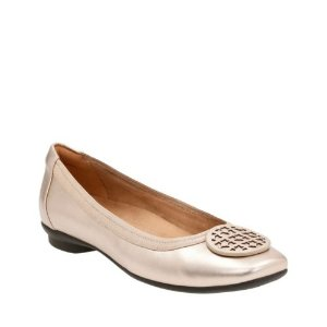 Candra Blush Gold Metallic Leather - Extra Wide Width Shoes for Women - Clarks® Shoes Official Site